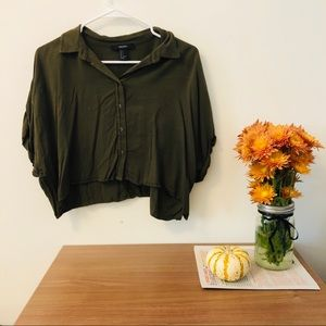Cropped Button Up Collared Army Green Shirt